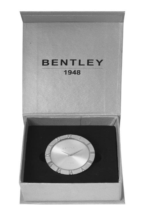 BENTLEY SILVER PLATED TABLE CLOCK