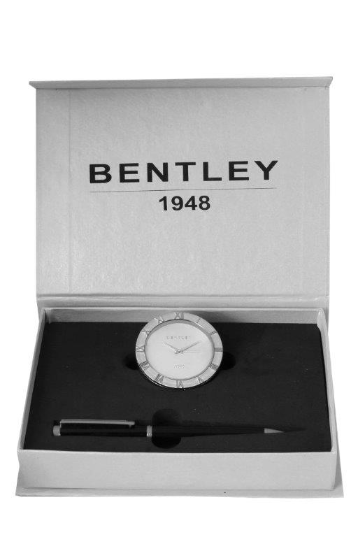 BENTLY SILVER PLATED TABLE CLOCK & PEN COMBO